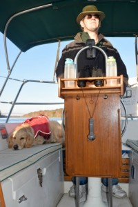 Mike at helm, Honey on watch