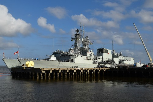Canadian naval vessel in Charleston Harbor.