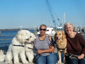 Harley, Jaxson, and Cathy with Pam & Honey in Charleston.