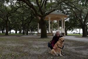 Honey the golden retriever and Pam in White Point Garden in Charleston.