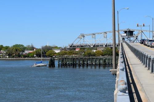 A sailboat goes through Ladies Island Bridge.