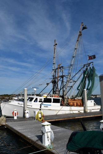 Fishing boat on dock in Beaufort, NC.