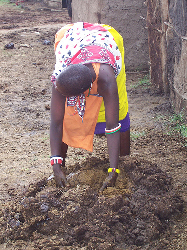 Masai woman repairs her house with dung.