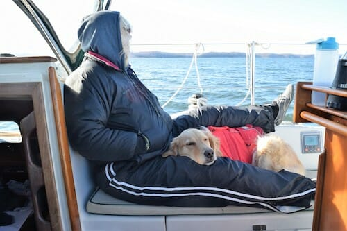 Honey the boat dog sleeps in the cold cockpit underway with Pam.