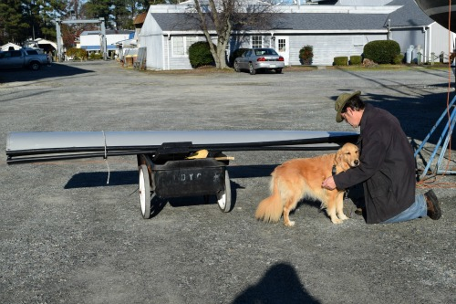 Dinghy on a dock cart.