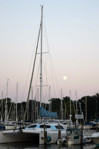 Moonrise at Watergate Pointe Marina in Annapolis.