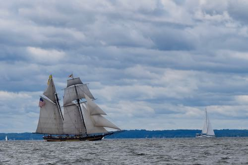 The Pride of Baltimore under sail in the Chesapeake Bay near Annapolis.