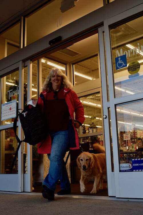 Honey the golden retriever is captured at the store.