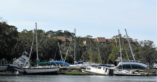 Wrecked boats in Hilton Head, South Carolina.
