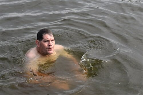 Mike swims off the boat in the Great Wicomico River.