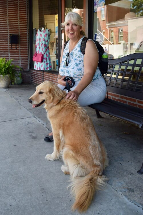 Honey and Pam wait outside a store in Beaufort.