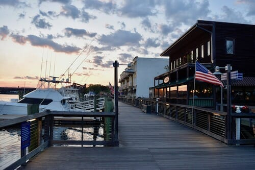 The Georgetown Harborwalk at dusk.