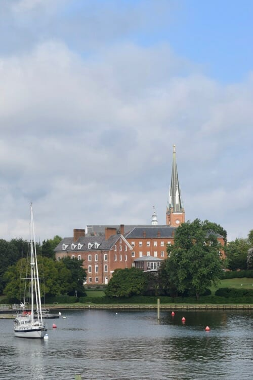 St Mary's church and a sailboat from Spa Creek bridge.