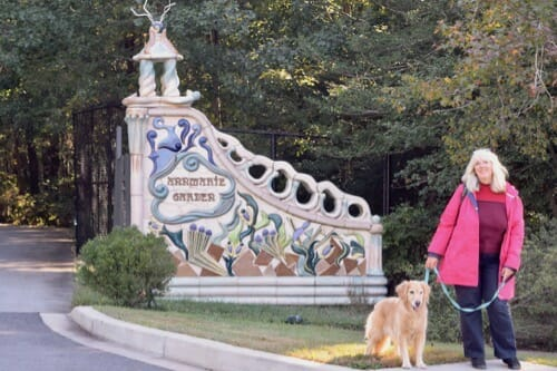 Honey the golden retriever and her person visit the dog-friendly Ann Marie Sculpture Garden in Solomons, Maryland.