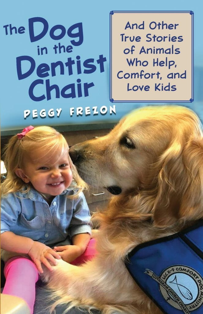 Book cover with golden retriever and toddler.