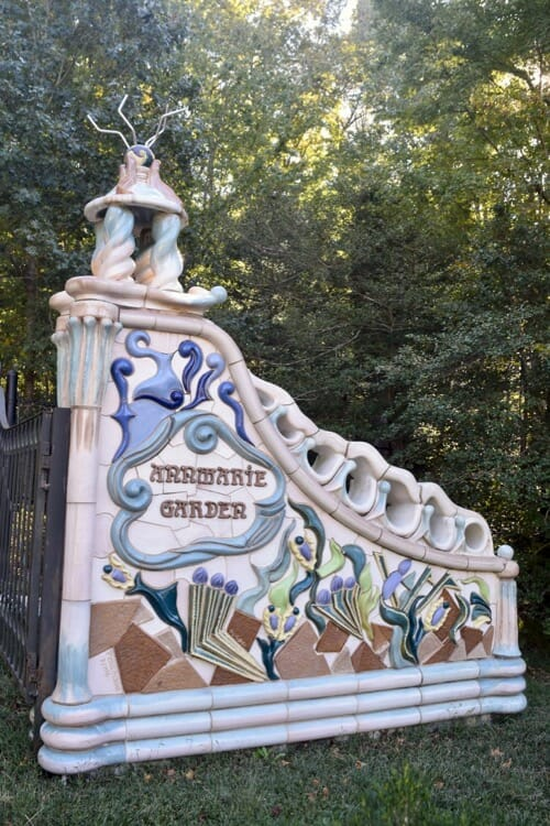 Decorative ceramic gate at AnnMarie Sculpture Garden.